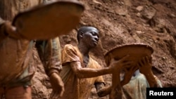 FILE - Gold miners form a human chain while digging an open pit at the Chudja mine near the village of Kobu in northeastern Congo, Feb. 23, 2009.