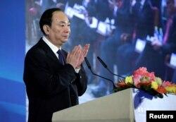 中国共产党中央委员会宣传部部长黄坤明2018年11月1日在北京钓鱼台国宾馆举行的改革开放与扶贫国际论坛上讲话。
