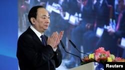 中國共產黨中央委員會宣傳部部長黃坤明2018年11月1日在北京釣魚台國賓館舉行的改革開放與扶貧國際論壇上講話資料照。