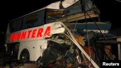 Hiện trường vụ tai nạn ở Anahuac, bang Nuevo Leon, Mexico, ngày 13/2/2015.