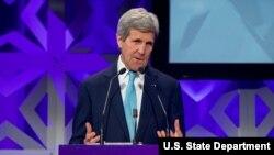 Ngoại trưởng Hoa Kỳ John Kerry phát biểu tại Hội nghị Năng lượng Bloomberg tại thành phố New York, ngày 5/4/2016.