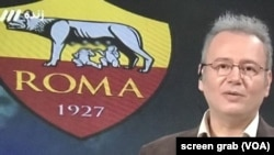 A screen grab from an Iranian state TV broadcast of Barcelona vs AS Roma European Champions League match, April 4, 2018, showing AS Roma's crest being partially censored.