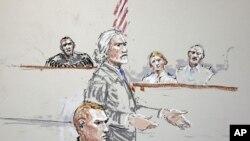 美國陸軍士兵卡爾文.吉布斯在軍事法庭上的素描畫像。