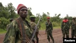 Des combattants du M23 à Rumangabo, au nord de Goma, le 28 juillet 2012