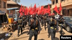 FILE - Shi'ite Muslims take part in a rally to commemorate Ashura in Kano, Nigeria, Oct. 24, 2015. On Monday, Nov. 14, 2016, deadly clashes occurred near Kano as the Islamic Movement in Nigeria conducted an annual procession to Zaria.