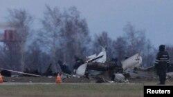 Hiện trường tai nạn máy bay tại phi trường Kazan, ngày 18/11/2013.