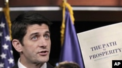 House Budget Committee Chairman Paul Ryan, R-Wis. touts his 2012 federal budget during a news conference on Capitol Hill in Washington, April 5, 2011