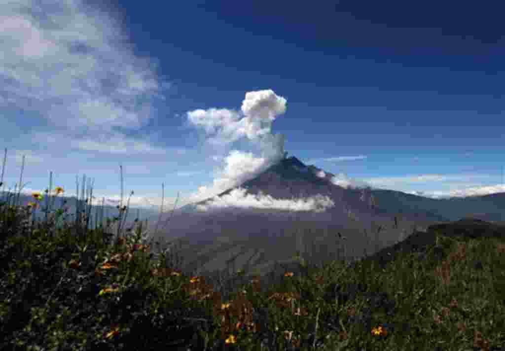 El volcán Tungurahua arroja ceniza durante una explosión en El Santuario, Ecuador, 29 de mayo 2010.
