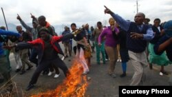 Workers' street protests in South Africa are at sometimes violent