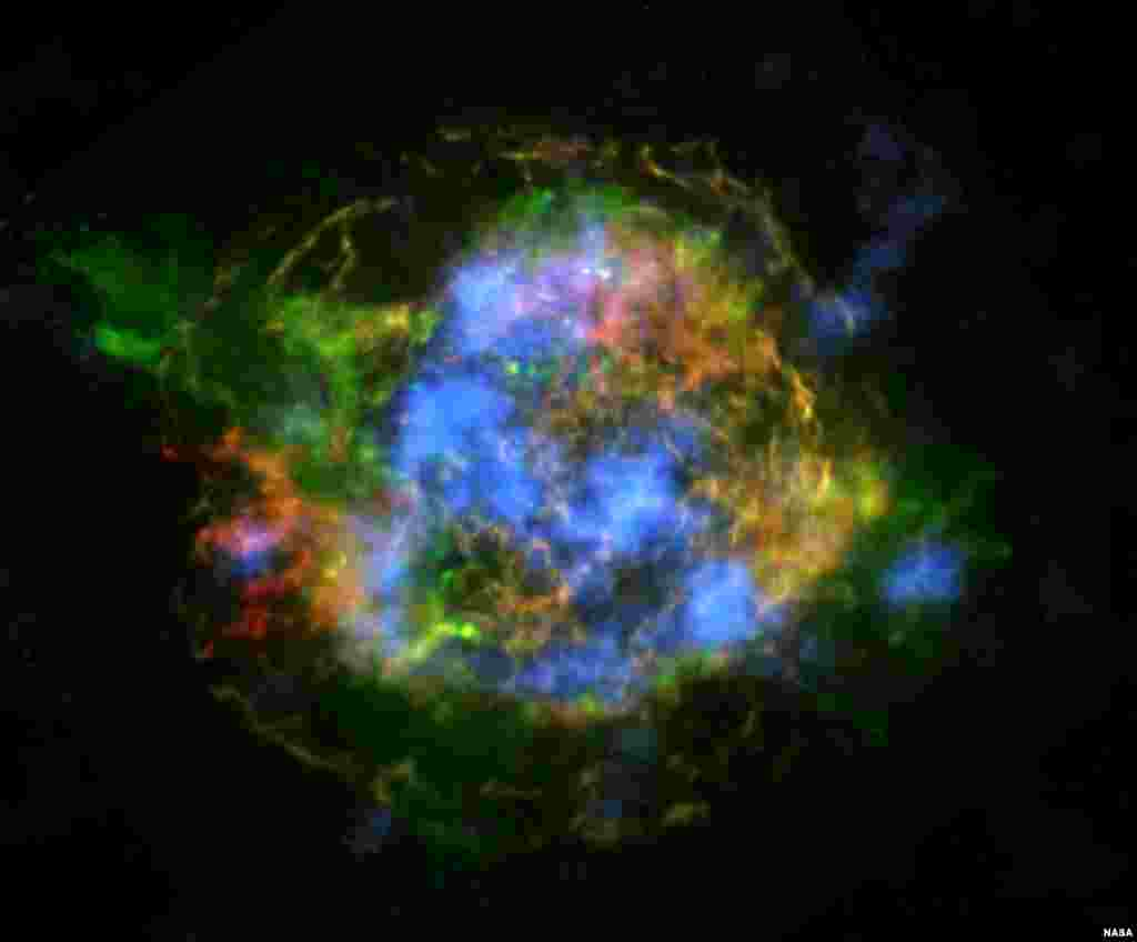 This is the first map of radioactivity in a supernova remnant, the blown-out bits and pieces of a massive star that exploded. The blue color shows radioactive material mapped in high-energy X-rays using NuSTAR. (Image Credit: NASA/JPL-Caltech/CXC/SAO)