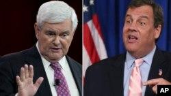 Donald Trump estaría considerando para vicepresidente al ex presidente de la Cámara de Representantes, Newt Gingrich (izquierda), y al gobernador de Nueva Jersey, Chris Christie.
