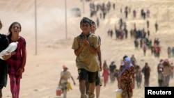 Abana bo mu bwoko bw'aba Yazidi bahunga intambara muri Iraki