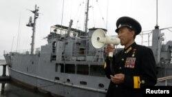 지난 1968년 북한에 나포된 미 해군 정보함 푸에블로 호. 평양 대동강변에 전시돼있다. (자료사진)