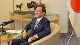 Japan's Chief Cabinet Secretary Yoshihide Suga speaks to VOA, Tokyo, Japan, February 4, 2013.