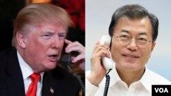 도널드 트럼프 미국 대통령(왼쪽)과 문재인 한국 대통령이 19일 통화하고 2차 미-북 정상회담에 대한 의견을 교환했다.
