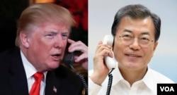 Por segunda vez en una semana, el presidente de EE.UU. Donald Trump (izq.) habló por teléfono el miércoles 10 de enero con su homólogo de Corea del Sur, presidente Moon Jae-in.