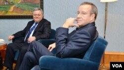 Председатель грузинского Парламента Давид Усупашвили и президент Эстонии Тоомас Хендрик