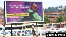 Swaziland billboard encourages faithfulness in sexual relationships. (photo: Daniel Halperin)