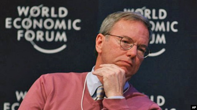 Chairman and CEO of Google, Eric Schmidt listens during a session at the World Economic Forum in Davos, Switzerland, January 28, 2011 (file photo)