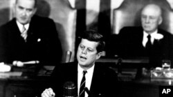 President John F. Kennedy speaks to a joint session of the U.S. Congress, on May 25, 1961.