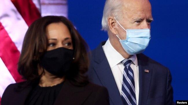 Tổng Thống đắc cử Joe Biden và Phó TT đắc cử Kamala Harris tại một cuộc họp báo ở thành phố Wilmington, bang Delaware, nơi ông Biden cư ngụ.