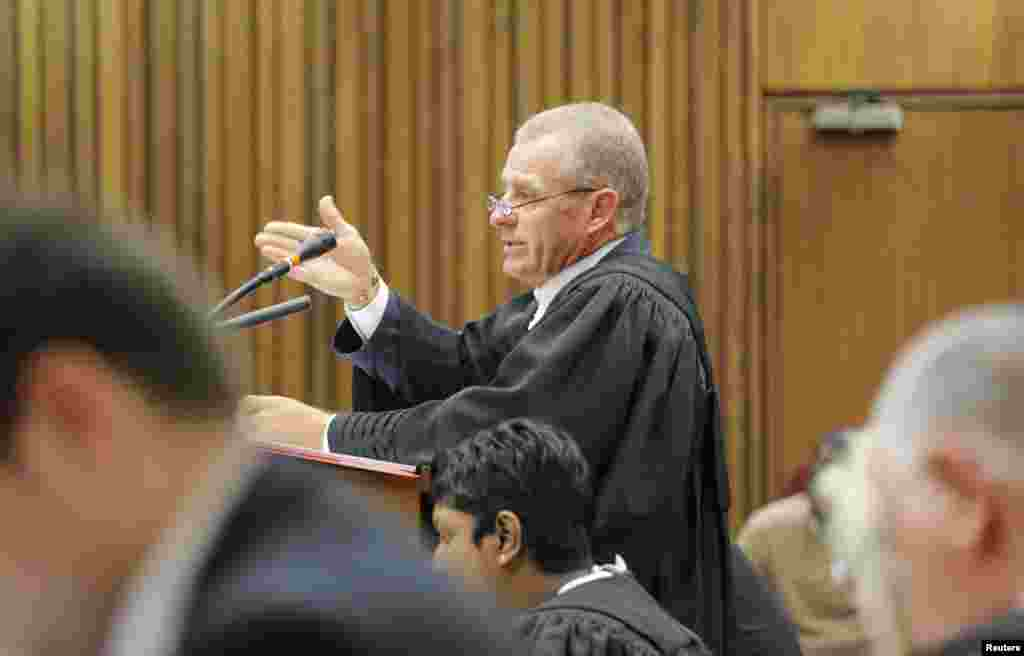 State Prosecutor Gerrie Nel speaks during his appeal against the verdict and sentence of South African Olympic and Paralympic sprinter Oscar Pistorius at the North Gauteng High Court in Pretoria, Dec. 9, 2014.