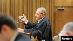 Le procureur sud-africain Gerrie Nel parle lors de son appel contre le verdict et la sentence d'Oscar Pistorius à Pretoria, le 9 décembre 2014.
