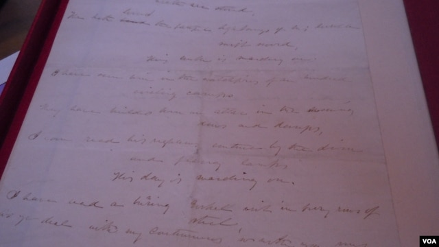 "This original copy of Julia Ward Howe's lyrics for ""The Battle Hymn of the Republic"" is expected to sell for around $350,000. (VOA/J. Taboh)"