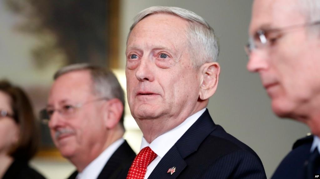 Defense Secretary Jim Mattis listens to a reporter's question during a meeting with Georgian Defense Minister Levan Izoria at the Pentagon, Nov. 13, 2017, in Washington.