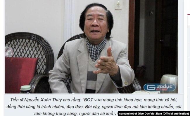 Tiến sĩ Nguyễn Xuân Thủy đề xuất 4 điểm về chống tham nhũng trong BOT giao thông