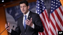 FILE - House Speaker Paul Ryan of Wis. meets with reporters on Capitol Hill in Washington.