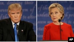 The first presidential debate between Republican nominee Donald Trump, left, and Democratic nominee Hillary Clinton, was held at Hofstra University in Hempstead, N.Y., Sept. 26, 2016.