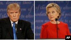 26일 뉴욕 호프스트라 대학교에서 진행된 첫 대통령 후보 TV토론에서 도널드 트럼프(왼쪽) 공화당 후보가 발언하는 동안 힐러리 클린턴 민주당 후보가 듣고 있다.