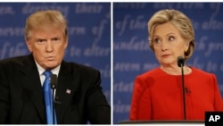 The first presidential debate between Republican nominee Donald Trump, left, and Democratic nominee Hillary Clinton, was held at Hofstra University in Hempstead, N.Y., Sept. 26, 2016.