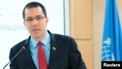 El canciller del gobierno en disputa de Venezuela, Jorge Arreaza, habló ante el Consejo de DD.HH. de la ONU el miércoles 27 de febrero de 2019, pese a que decenas de representantes de gobiernos se retiraron de la sala.