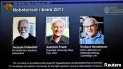 Ba nhà khoa học nhận giải Nobel hóa học 2017 tại Stockholm, Thụy Điển, 4/10.