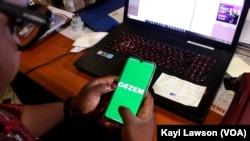 Interface de l'application Gozem à Lomé, 14 mars 2021. (VOA/Kayi Lawson)