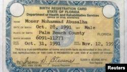 Certificado que acredita que Moner Abu-Salha nació en el condado de Palm Beach, en Florida, y que tenía 22 años.