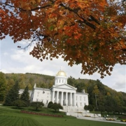 The colors of fall are seen on the lawn of the Vermont Statehouse in Montpelier
