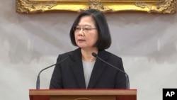 台灣總統蔡英文1月2號在總統府發表談話。