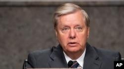 资料照:共和党联邦参议员格雷厄姆(Sen. Lindsey Graham, R-SC)2020年5月6日主持参议院司法委员会听证会。