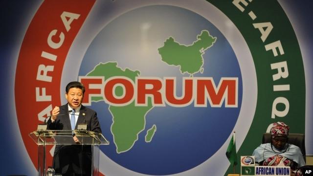 中国国家主席习近平在南非约翰内斯堡举行的中非论坛上发表讲话。 (2015年12月4日)