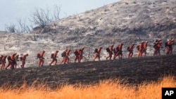 Firefighters in Yucaipa, California Sept. 5, 2020