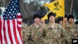 Les soldats de l'armée américaine à la cérémonie de NATO en Lithuanie, 7 février 2017.