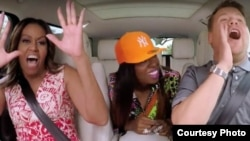 "Michelle Obama, James Corden y Missy Elliot cantando el himno feminista ""This is for my Girls"" en el último ""Carpool Karaoke"" de la temporada."