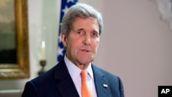 Menteri Luar Negeri AS John Kerry, di London, 21 Februari 2015.