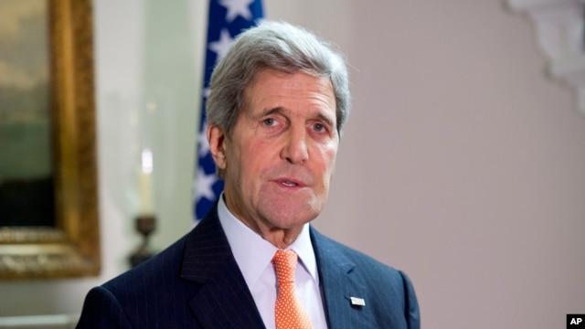 FILE - U.S. Secretary of State John Kerry speaks to reporters in London, Feb. 21, 2015.