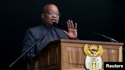 FILE - South African President Jacob Zuma speaks at a Human Rights Day rally in Durban, South Africa, March 21, 2016.