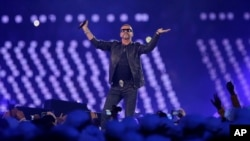 FILE - British singer George Michael performs during the Closing Ceremony at the 2012 Summer Olympics, Aug. 12, 2012, in London.