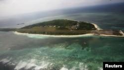 Ảnh chụp từ trên không bãi cạn Pagasa thuộc nhóm đảo Trường Sa đang trong vòng tranh chấp.